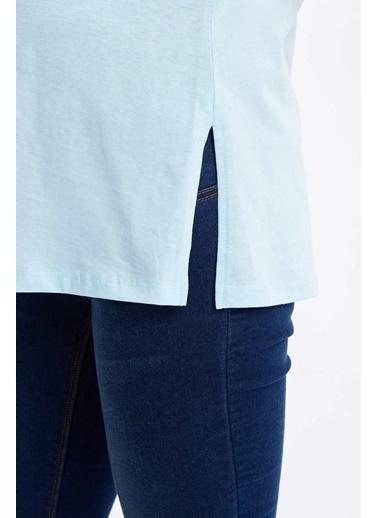 DeFacto Relax Fit Kısa Kollu Hamile T-Shirt Mavi